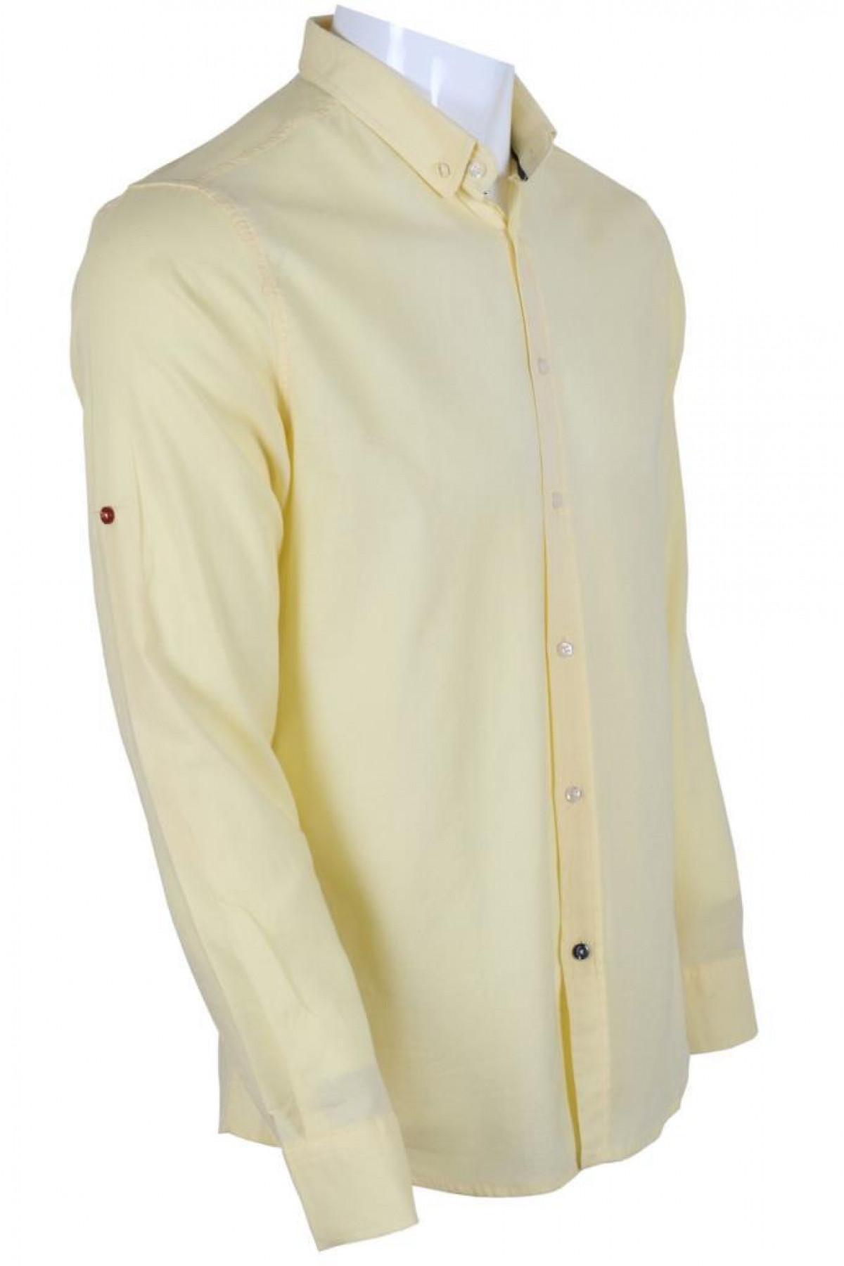 Erkek Gömlek Dar Kesim RAR00601 Limon Sarısı