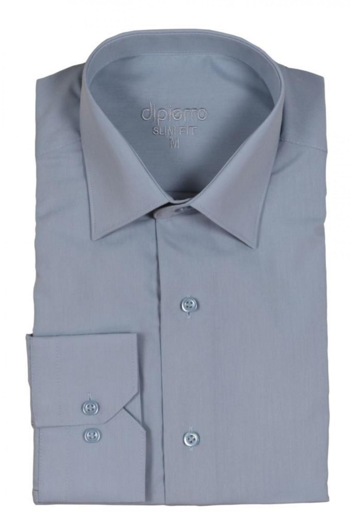 Erkek Gri Gömlek Dar Kesim Uzun Kollu RAR00733