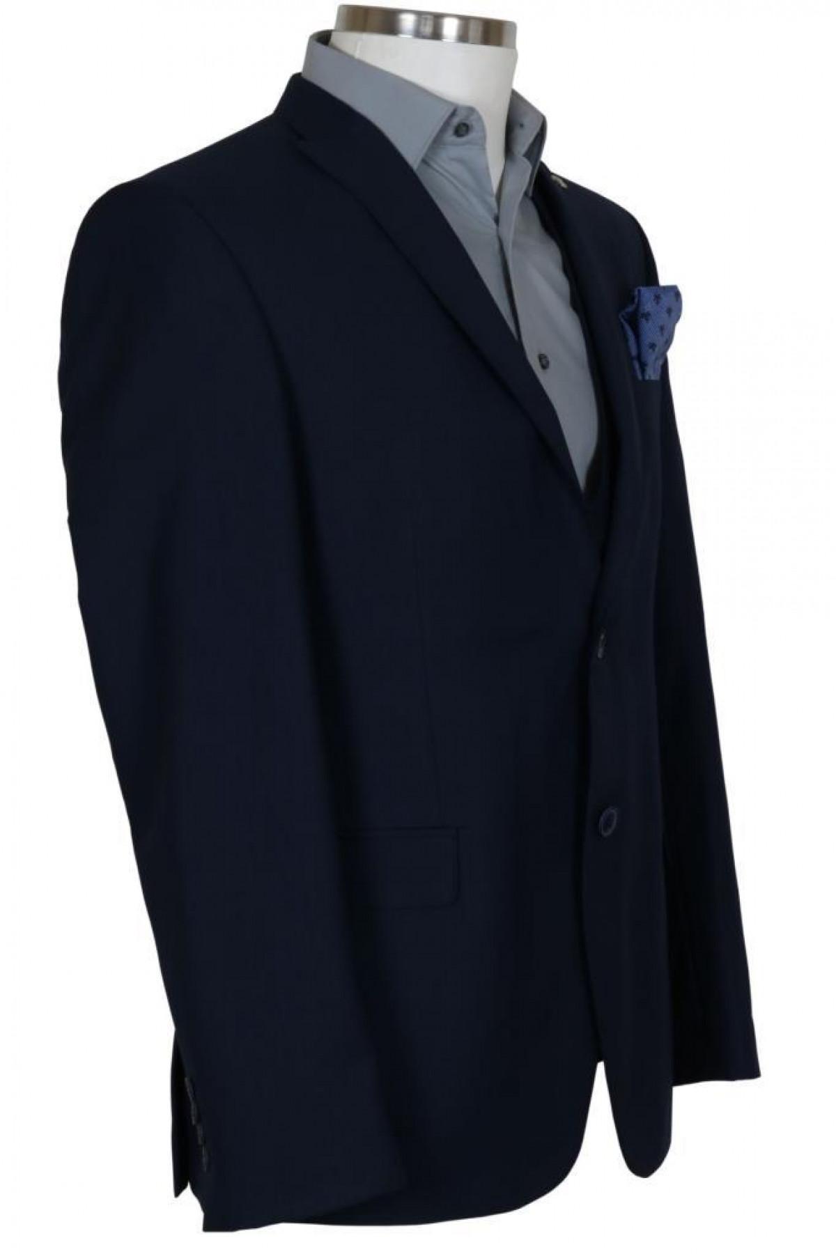 Erkek Lacivert Takım Elbise Yelekli Dar Kesim RAR00704