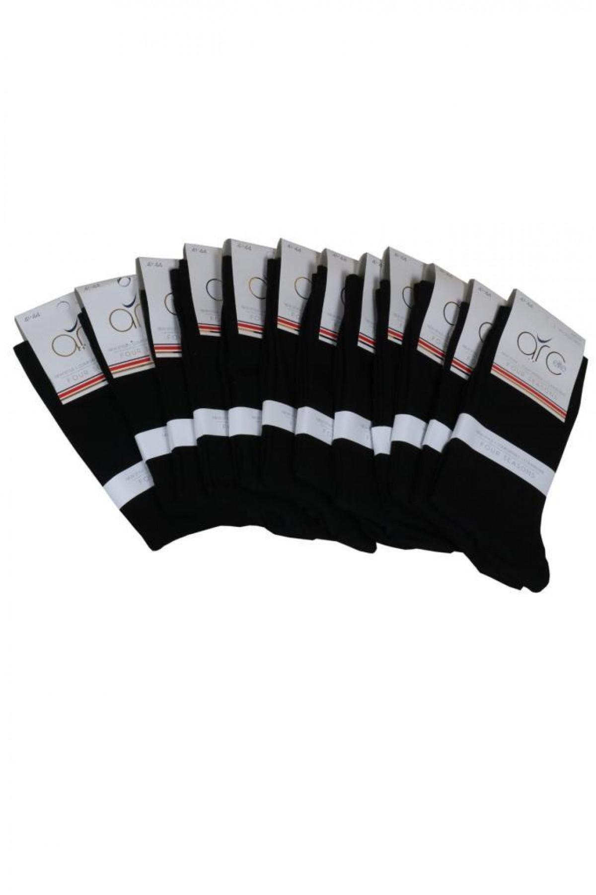 Erkek Siyah Çorap Mevsimlik 12' Li Paket RAR00702