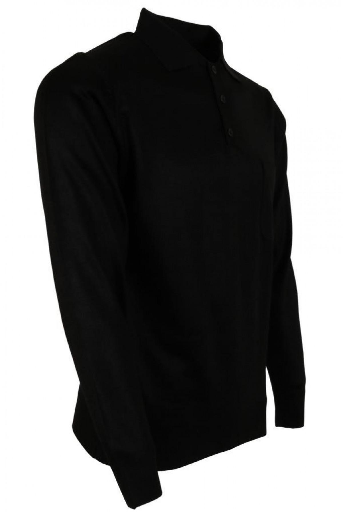 Erkek Siyah Kazak Polo Yaka Yünlü Klasik Normal Kesim RAR00645