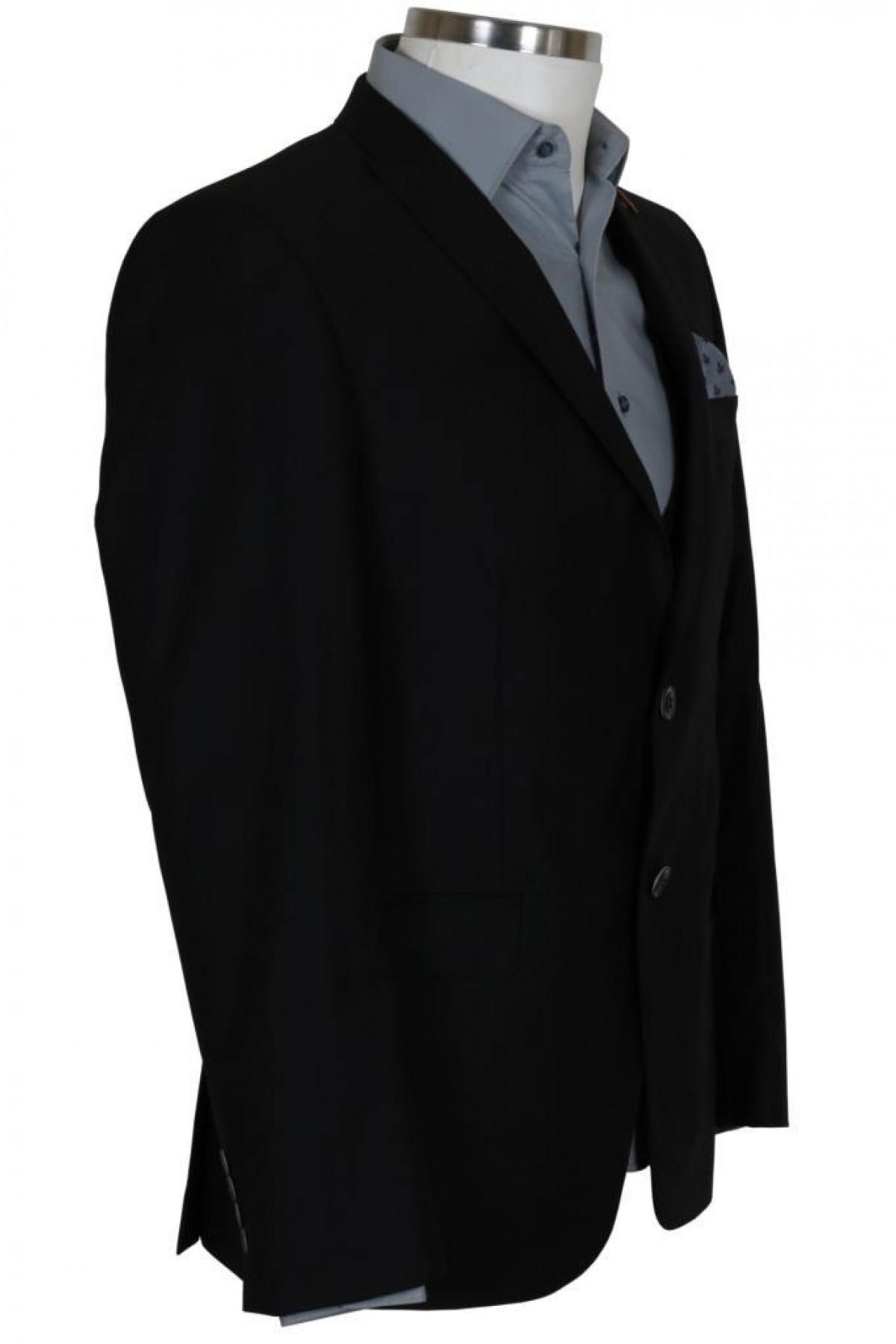 Erkek Siyah Takım Elbise Yelekli Dar Kesim RAR00697