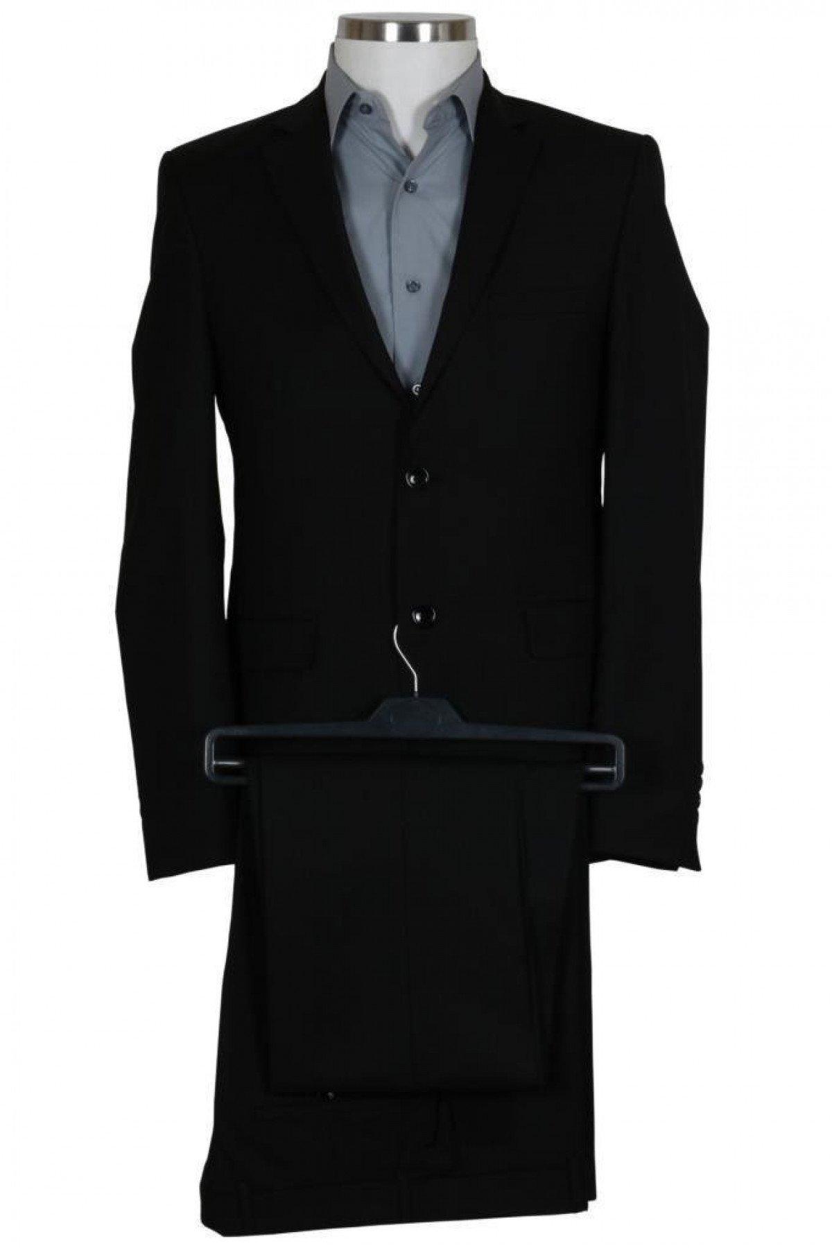 Erkek Siyah Takım Elbise Yelekli Dar Kesim RAR00698