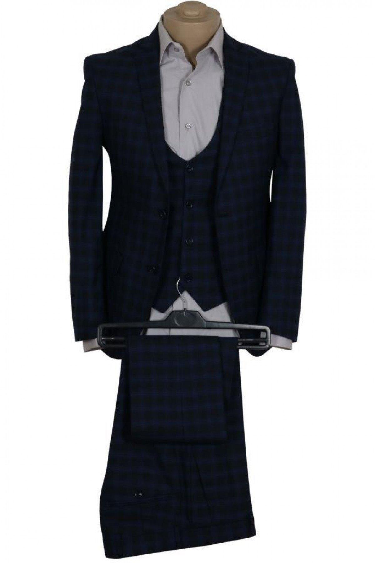 Erkek Takım Elbise Yelekli Dar Kesim RAR00686